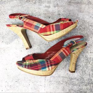 Candie's Shariee Red Plaid Slingback Peep Toe Heel
